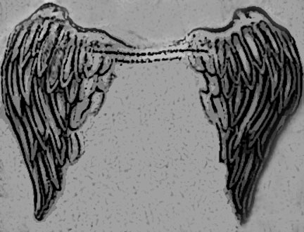 Classic angel wing feather tattoo design. small lower back tattoo design,