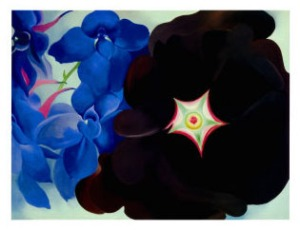 georgia-okeeffe-black-hollyhock-blue-larkspur-1930