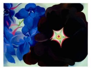 georgia-okeeffe-black-hollyhock-blue-larkspur-1930
