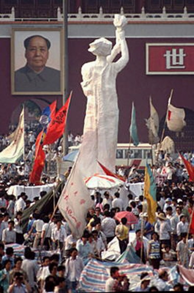 Goddess of Democracy erected in TS