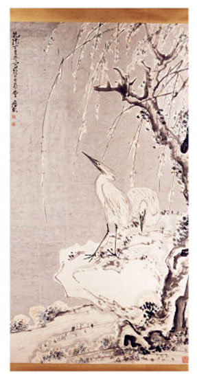 huang-shen-white-egrets-on-a-bank-of-snow-covered-willows-1767