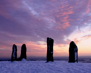 Clent Standing Stones Winter Sunset