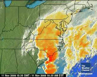 Satellite Image of Noreaster 11-11-09