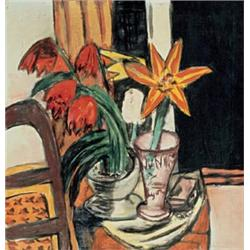 """Rote Tulpen und Feuerlilien (Red Tulips and Tiger Lily),"" by Max Beckmann (1935)"
