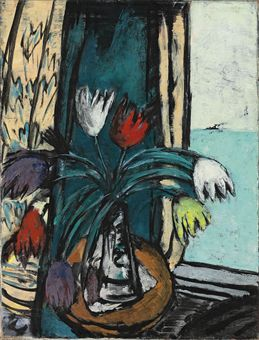 """Stilleben mit Tulpen und Ausblick aufs Meer (Still Life with Tulips and Sea View),"" by Max Beckmann (ND)"