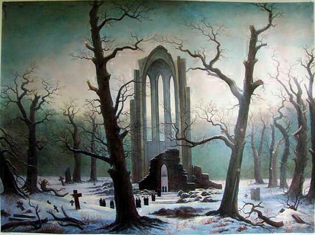 """Cloister Cemetery in the Snow (1817-19, oil on canvas)by Caspar David Friedrich"