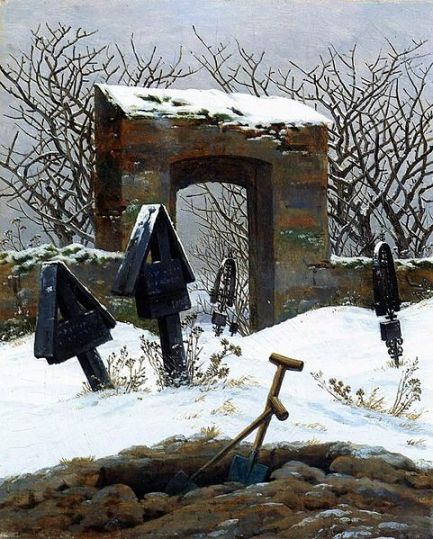 Caspar David Friedrich, Graveyard under Snow 1826 oil on canvas