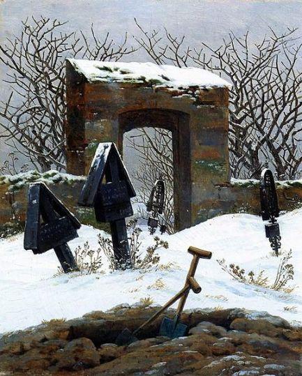 Caspar David Friedrich, Graveyard under Snow 1826 oil on canvas