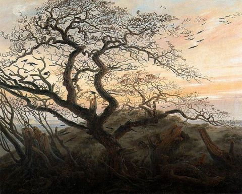 Caspar David Friedrich Tree of Crows, oil on canvas, ca 1822