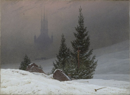 """Winter Landscape with Church"" (1811, oil on canvas)Caspar David Friedrich"