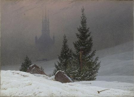 """Winter Landscape with Church"" (1811, oil on canvas)Caspar David Friedrich"