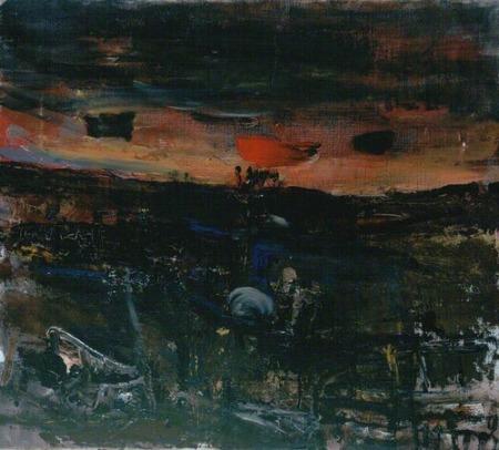 """""""Setting Sun over Fields"""" (1955-63, oil on canvas)by Joan Eardley"""