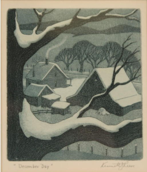 """December Day"" (nd, aquatint)by Kenneth J. Reeve"
