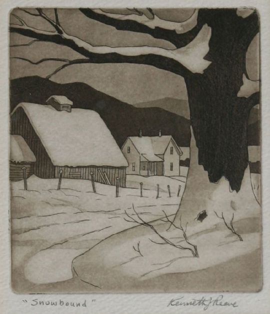 """Snowbound"" (nd, aquatint)by Kenneth J. Reeve"