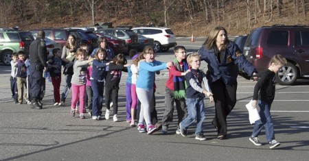 Sandy Hook Elementary School Schooting Children Being Led from Building by Shannon Hicks AP slash Newtown Bee