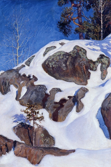 Akseli Gallen-Kallela Snow-Covered Cliffs at Kalela, 1901 tempera on canvas