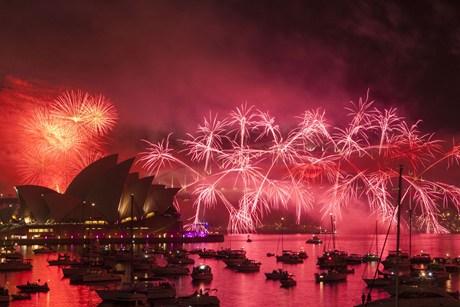 Fireworks over Sydney Harbor, Australia AAP