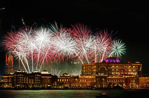 Fireworks over the Emirates Palace in Abu Dhabi, Hadrian Hernandez Gulf News