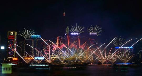 Fireworks over Victoria Harbor, Hong Kong, Antony Dickson AFP