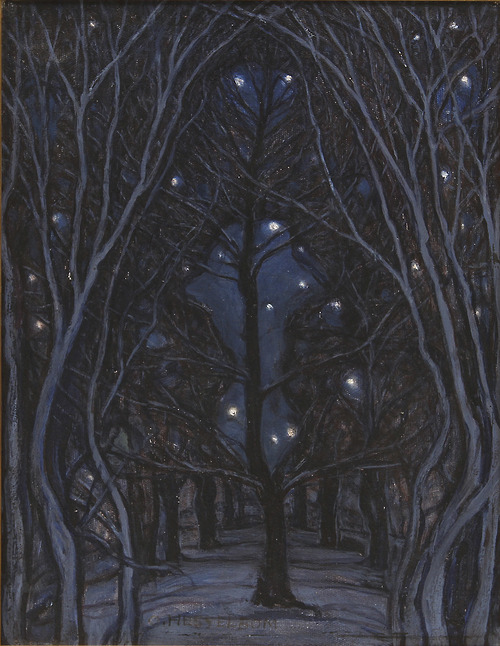 """Nattens Helgedom (Night Sanctuary),"" (oil on canvas)by Otto Hesselbom"