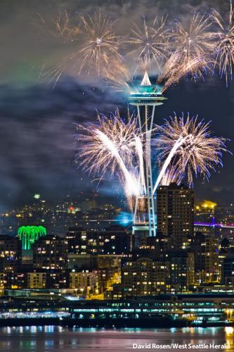Space Needle amid Fireworks 2013 by David Rosen West Seattle Herald