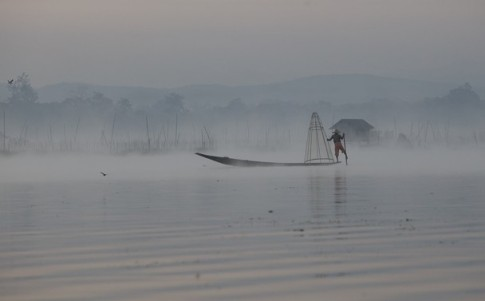 Across the Mist on Inle Lake by Zara Bowmar Nat Geo