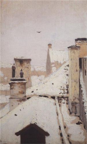 Arkhip Kuindzhi, Roofs Winter 1876