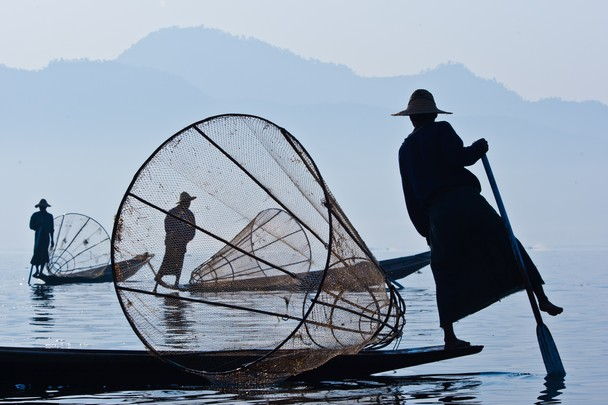 Dawn with Fishermen of Inle Lake, Myanmarby Chris Martin (National Geographic)