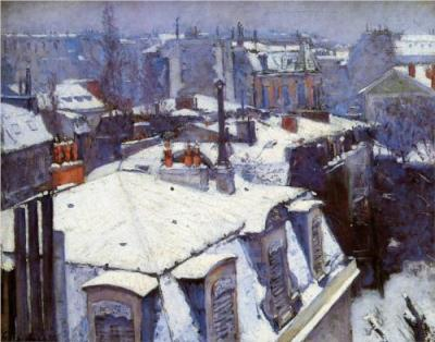 Gustave Caillebotte View of Roofs paren snow effect paren or Roofs under Snow 1878 oil on canvas