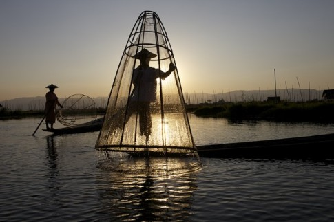 Traditional Fisherman on Inle Lake by Zara Bowmar Nat Geo