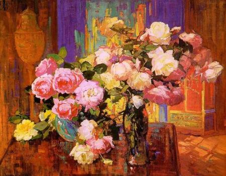 Framz Bischoff Roses oil on canvas nd