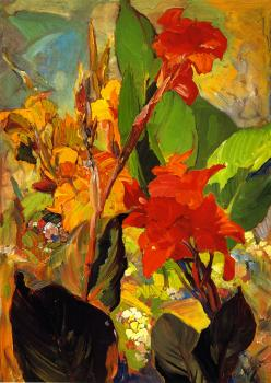 Franz Bischoff oil on canvas, Cannas, nd