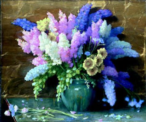 Joseph Henry Sharp Delhpiniums oil on canvas
