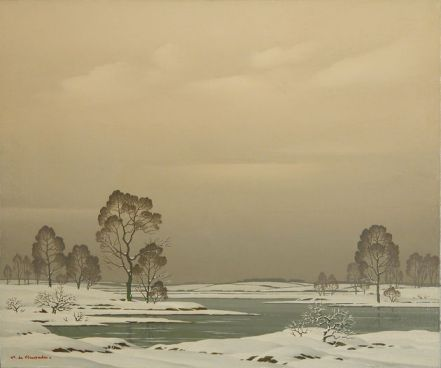 Pierre de Clausade Neige Sure La Rive oil on canvas