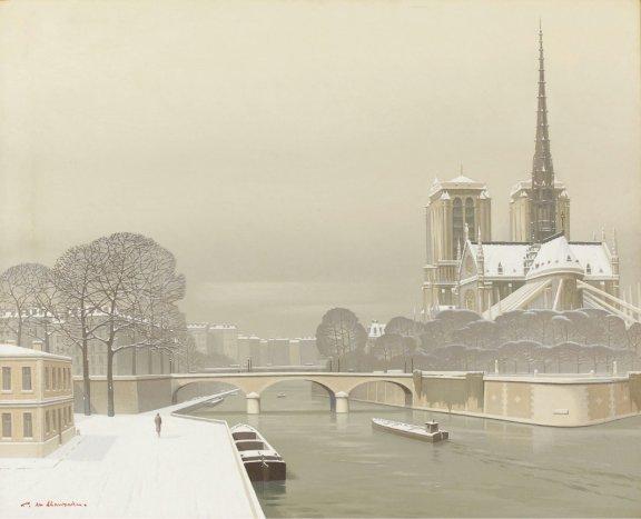 Pierre de Clausade Pont Neuf, Neige sur Paris, 1959