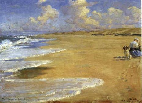 PS Kroyer Painting on the Beach at Stenbert 1889 oil on canvas