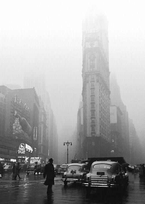 Times Square in the Rain, 1949 by Fred Stein