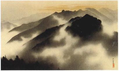 Yokoyama Taikan Holy Peaks of Chichibu at Spring Dawn 1928 ink on silk