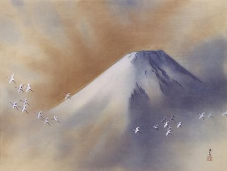 Yokoyama Taikan Snowy Peak with Cranes 1958