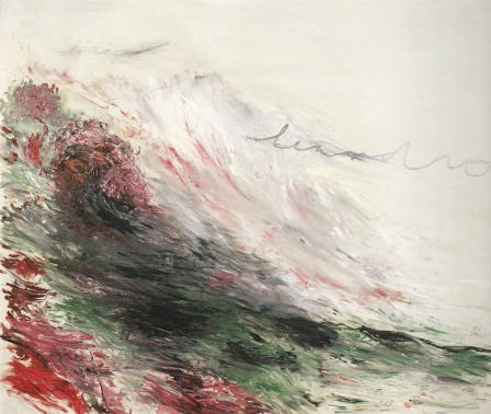 Cy Twombly Hero and Leandro 1984 (A painting in Four Parts) Part I, 1984, oil, house paint, paint stick on canvas