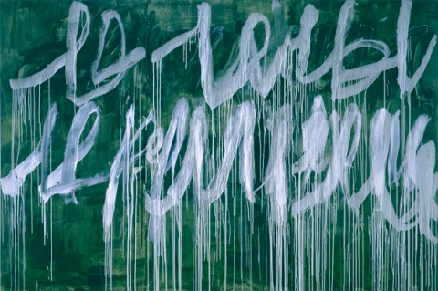 Cy Twombly Note III 2005-7 acrylic on wood panel