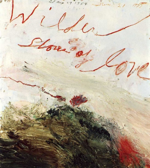 Cy Twombly Wilder Shores of Love 1985, oil-based house paint, paint stick, coloured pencil and lead pencil on wooden panel