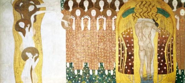 Gustav Klimt, Beethovenfries (Detail): Diesen Kuss der ganzen Welt