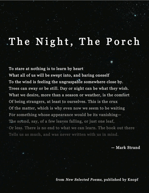Mark Strand the crux of the matter