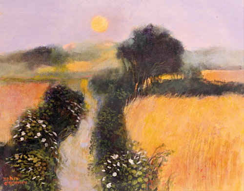 John O'Connor Moon and Convolvulus oil on canvas