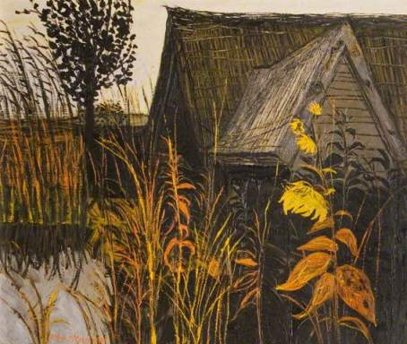 John Scorror O'Connor Thatched Barn and Sunflower