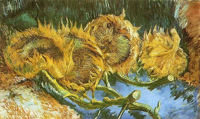Vincent Van Gogh, Four Cut Sunflowers 1887 oil on canvas