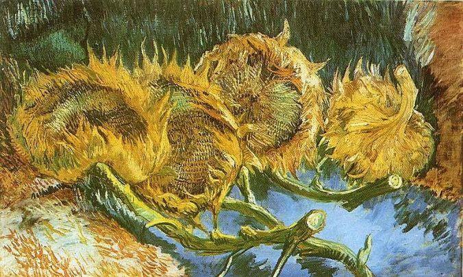 Vincent Van Gogh, Four Cut Sunflowers 1887 oil on canvas