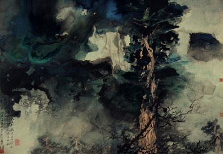 Chang Dai-chien Diety Trees 1970 ink and color on paper