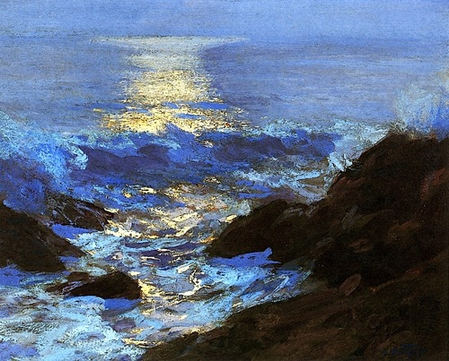 Edward Potthast Seascape moonlight